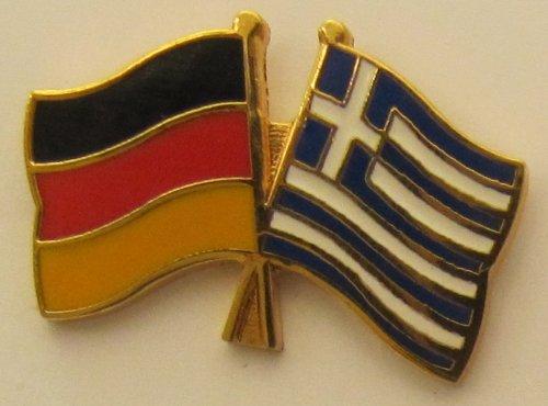 Griechenland / Deutschland Freundschafts Pin Anstecker Flagge Fahne Nationalflagge Doppelpin Flaggenpin Badge Button Flaggen Clip Anstecknadel