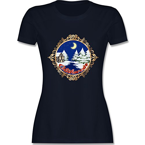 Weihnachten & Silvester - Glühwein Lable - tailliertes Premium T-Shirt mit Rundhalsausschnitt für Damen Navy Blau