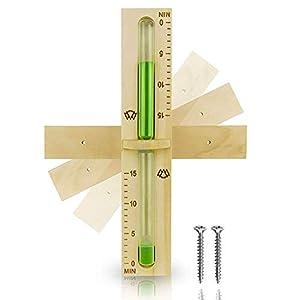 15 Minuten Sauna Sanduhr aus 100% nordischer Fichte mit robustem hitzebständigem Glas & dunkelgrüner Kontrastfarbe + 2 Edelstahl Schrauben - Hochwertiges Aufguss Zubehör - 60 Tage risikolos testen