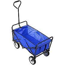 HOMFA Carro de Mano Plegable y abatible Carro de Transporte Carga 80kg (Azul)