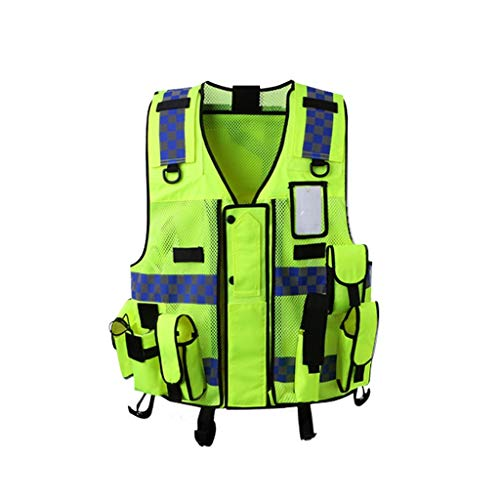 LiYL Giubbotto Riflettente Vest Multi-Function Traffic Motorcycle Riding Reflective Traffic Abbigliamento Abbigliamento di Sicurezza (Color : Yellow)