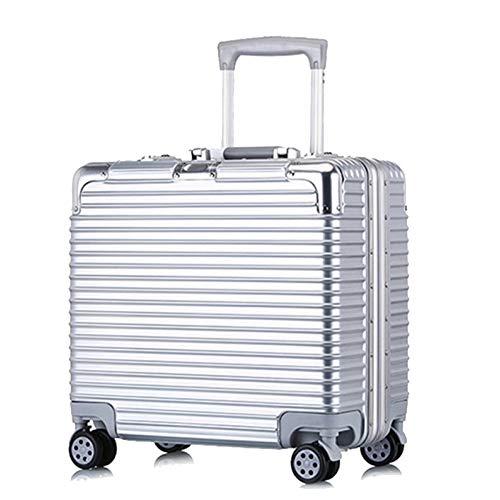 Valigia Rigida,Valigia A 4 Ruote,ABS Trolley Bagaglio A Mano Valigia Rigida Leggera,Silver-18Inch