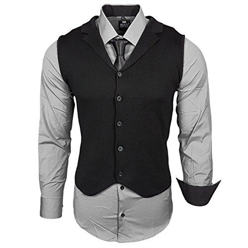 Rusty Neal Business Herren Hemd+Weste+Krawatte Set Anzug Smoking Sakko Herrenanzug Slim fit Hemden Freizeit Hochzeit RN-40-44, Größe:2XL, Farbe:Grau