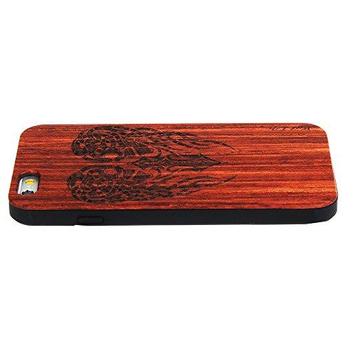Echtem Holz Schutz für iPhone 7 4.7 Zoll Forepin® Ultraslim Handyhülle mit Hart PC Bumper Cover Case, Stamm Schädel