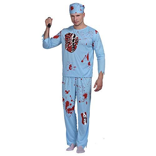Kostüm Arzt Patienten - EraSpooky Dr. Zombie Gruseliges Arzt Chirurg Doktor Pfleger Kostüm Halloween Karneval