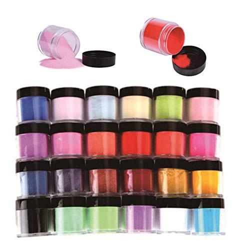 FUGUI 24 Farben Acryl Pulver Set UV Gel Puder Nagel Design Dekoration 3D DIY Dekoration Set - Farbige Acryl Nagel Pulver