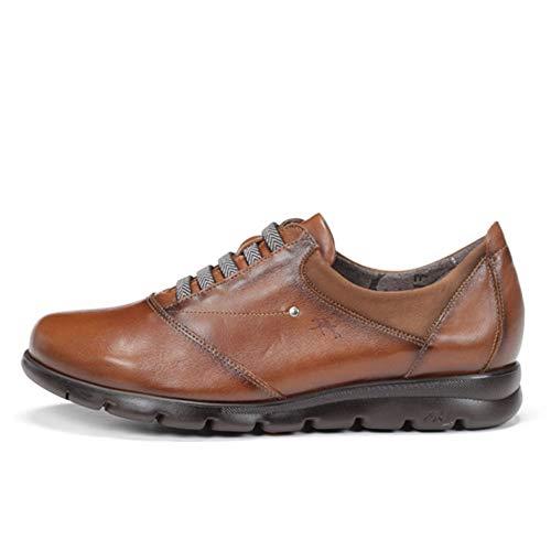 Zapato Abotinado Mujer Dorking-Fluchos - Piel Color Cuero, Cierre Cordones Elasticos, Plantilla Extraible...