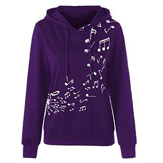 Frauen Langarm Kapuzenpullis, Kingwo Damen Hoodies Ausverkauf Musical Note Print Hoody Langarm Hoodie Sweatshirt Jumper Pullover Bluse (Lila, XL)