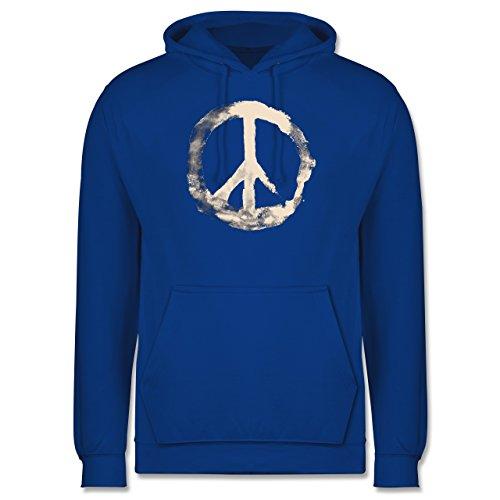 Statement Shirts - Frieden - Peacesymbol weiss - Männer Premium Kapuzenpullover / Hoodie Royalblau