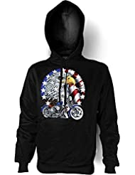 Biker & Motorrad Kapuzen Sweatshirt: Bike with Eagle