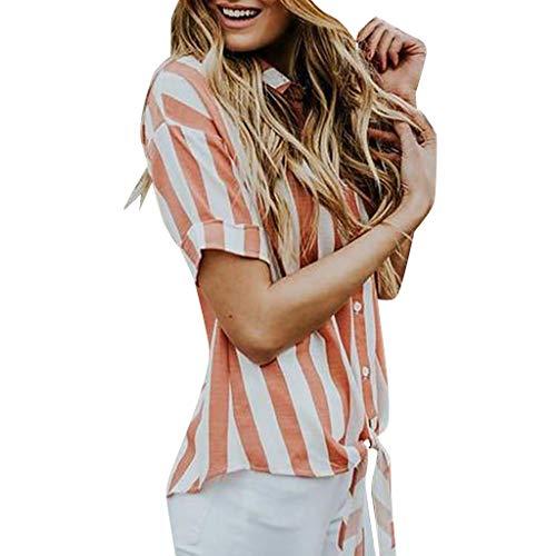 iHENGH Damen Top Bluse Bequem Lässig Mode T-Shirt Frühling Sommer Blusen Frauen Kurzärmeliges, gestreiftes Krawatten für Blaouse Oberteile mit ()