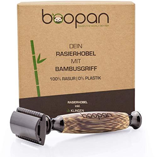 boopan® Premium Rasierhobel mit handgefertigtem Griff aus Bambus inkl. 5 Astra Klingen | Damen & Herren Nassrasierer Set für eine perfekte und sanfte Rasur | geschlossener Kamm | inkl. eBook -