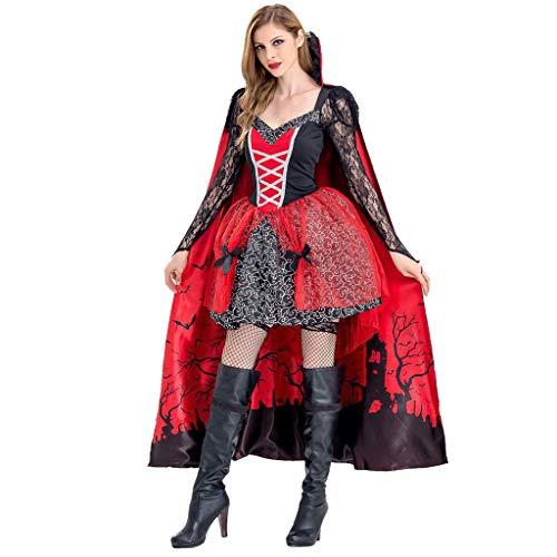 Kostüm Vampira Deluxe - BIKETAFUWY Damen Halloween Cosplay Kostüm Vampir Chemise Überkleid Stehkragen Umhang Spitze Kleid Retro Kleidung Strahltaille Vintage Karneval Party Oktoberfest Tunika Gothic Umhang Kleid