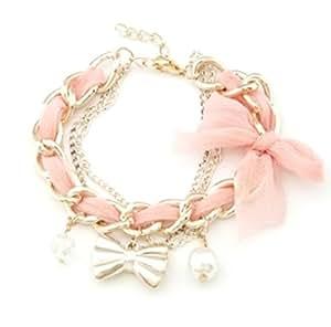 Crunchy Fashion Baby Pink Golden Bowknot Metal Charm Bracelet For Women