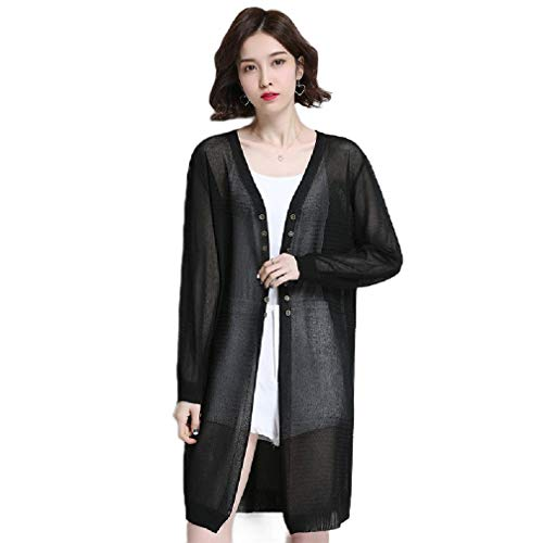 CuteRose Womens Longline Knitted Double Button See-Through V Neck Cardigan Black M -