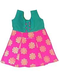 c732a483d0826 Pattu Pavadai Raw Silk Banarasi Frock Green and Pink for Just Born Baby Kids