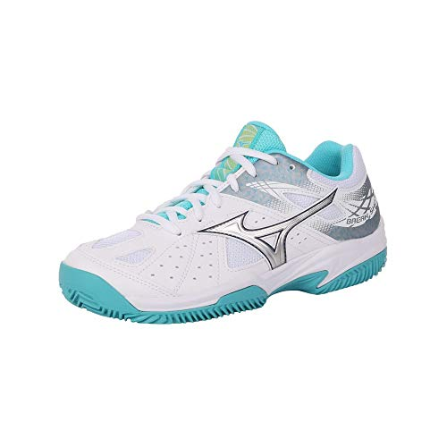 Mizuno Break Shot 2 CC, Scarpe da Tennis Donna, Bianco (White/Silver/Blue Curacao 03), 40 EU