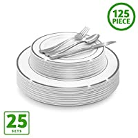 EcoEarth Plastic 125 Piece Dinnerware Set Gold and Silver Disposable Plates Set 125 Pack SILVER Dinnerware Sets Silver EE-DWS-SLVPK125