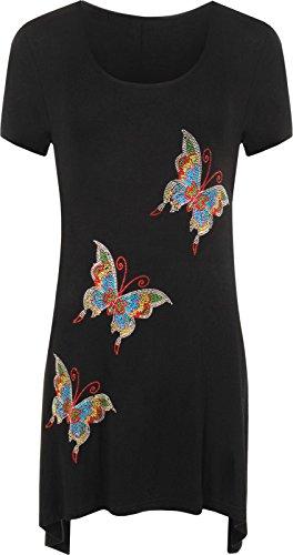 Islander Fashions Womens Paillettes Papillon Hanky Hem Top Dames Manches Courtes Sequin Stud Hanky Haut EU 42-56 Black