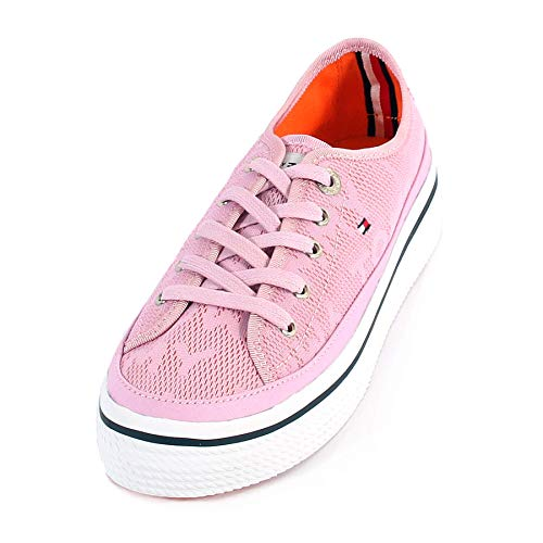Tommy Hilfiger Women's Jacquard Flatform Lace Trainer Pink/Lavender Size 4