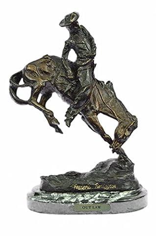 Bronze à la main Sculpture Bronze Statue Frederic Remington Cowboy à cheval Rodeo Old West Western Art -Uk63092- collection Décor cadeau