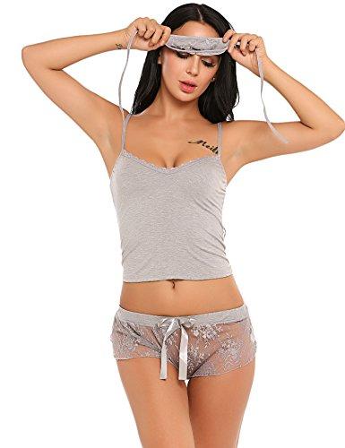 ADOME Damen Dessous Set Sheer Spitze Patchwork Cami Top und Elastische Taille Shorts Pyjamas Nachtwäsche mit eyeshade (Cami Taille)