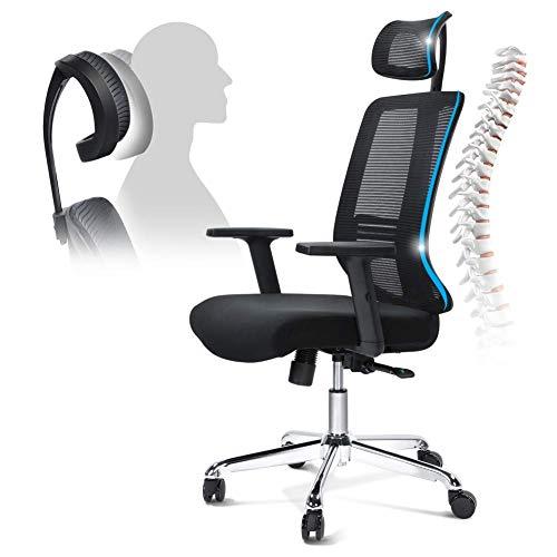 LBSX Gaming-Stuhl, Advanced Game Office Computer-Ledersessel mit hoher Rückenlehne Racing Executive Ergonomisch Verstellbarer drehbarer Arbeitsstuhl mit Kopfstütze und Taillenstütze, Schwarz