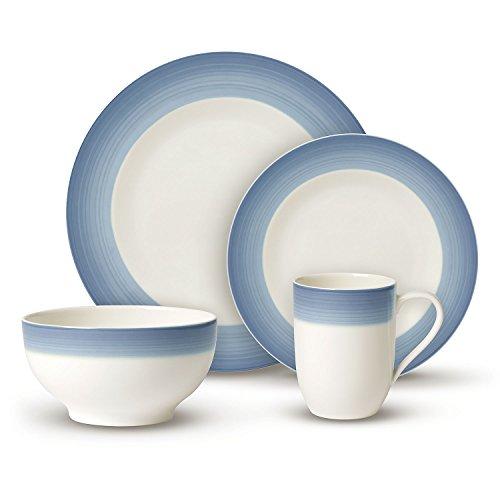 Villeroy & Boch Colourful Life Winter Sky Ensemble de vaisselle, Set de 8 pièces, Porcelaine Premium, Blanc/Bleu