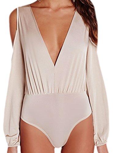 erdbeerloft - Damen Blusenoptik Bodysuit mit V-Ausschnitt und Cuout, 34-46, Viele Farben Beige