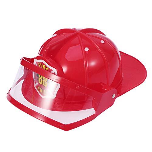 tzhelm Einstellbare Feuerwehrmann Hut Hut Spielzeug Pädagogisches Spielzeug Kostüm Party Hüte für Kinder Kinder (Rot) ()