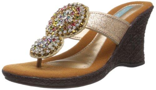 Catwalk Women's Gold Slippers - 6 UK
