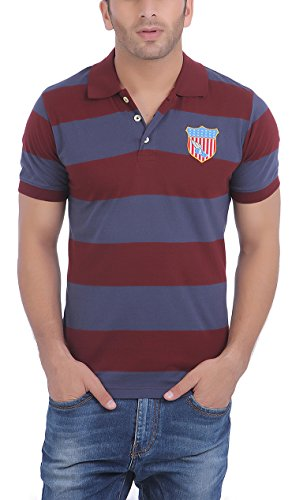 American-Crew-Mens-Polo-Stripes-With-Badge-T-Shirt-Navy-Blue-Burgundy