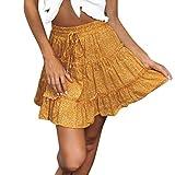 Sayla Faldas Mujer Verano Fiesta Sexy Elegante Tutu Moda Boho Alta Cintura con Volantes Floral Print Beach Falda Corta