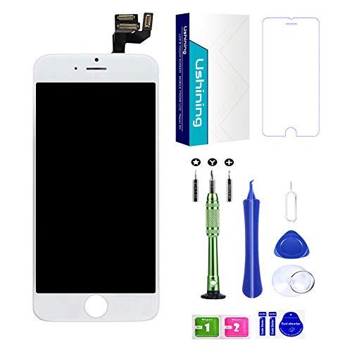 USHINING Display Touch Screen für iPhone 6s LCD Retina Digitizer Frame mit Taste Home Kamera Sensor Flex Komplett montiert Kit + Werkzeug (6s weiß)