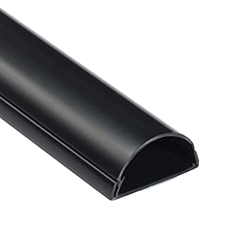 D-Line 1M5025B TV halbrunder Kabelkanal | Kabelabdeckung | 50x25 mm, 1 m Länge - Schwarz