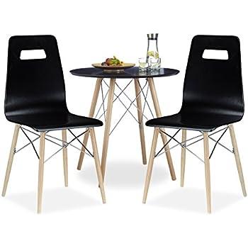 3 tlg. Esszimmer Set ARVID, 2 Esszimmerstühle, Küchentisch rund ...