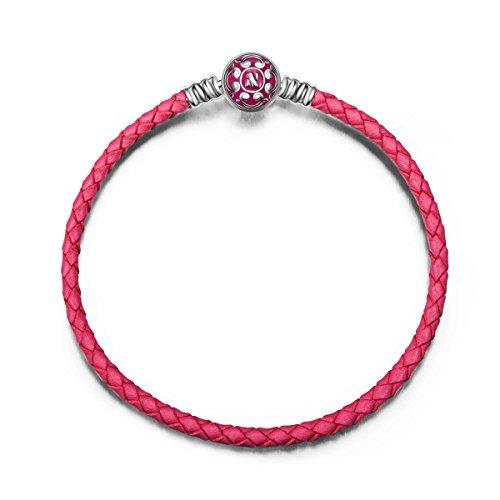 NINAQUEEN Pandora Armband angepasste Armreif Geschenk für Frauen Weihnachtgeschenke 19 cm Leder Magenta Silber 925 Emaille mit Schmuckkästchen Damen Geschenke für Mama