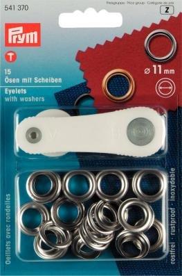 PRYM 11mm Ösen und Scheiben, Messing, 15Stück silber