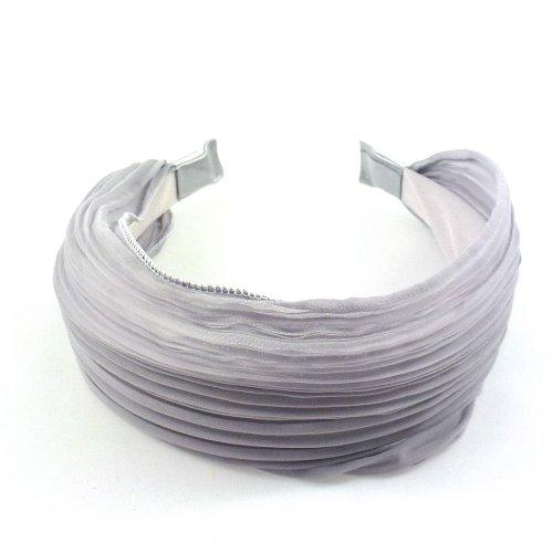 rougecaramel - Serre tête/headband/ large plissé façon bandeau - gris souris