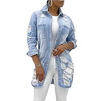GAGA Women Distressed Loose-Fit Boyfriend Coat Ripped Hole Denim Jean Jackets Blue S