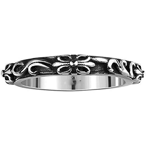 HFJ&YIE&H Semplice fiore classica nessun uomo decorativi di pietra con anello in acciaio inox rattan (nero) (1pc)