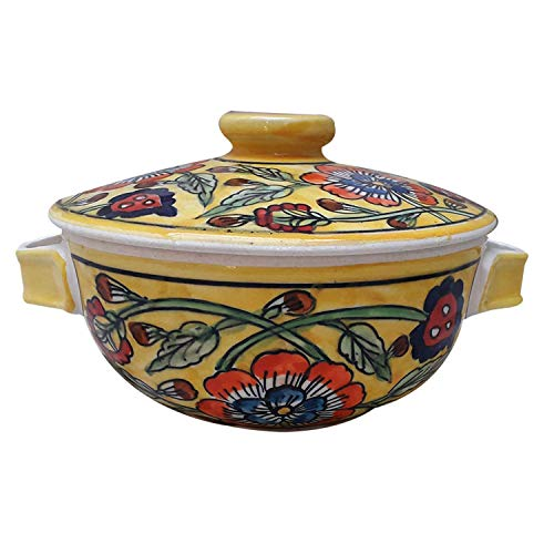India Meets India Thanksgiving Handicraft Ceramic Serving Bowl with Lid Mixing Bowls Dinner Bowl Snack Bowl, 500 ML, Best Gifting, Made by Awarded Indian Artisan