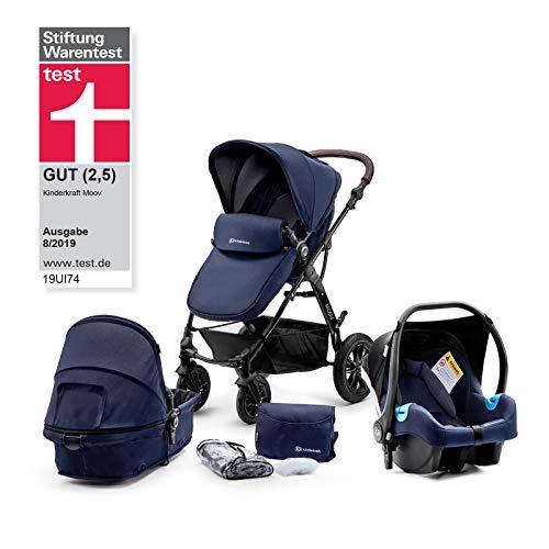 Kinderkraft Passeggino Trio MOOV 3 in 1 Multifunzionale Carrozzina Buggy con Navicella Seggiolino Auto Ovetto Accessori Cappottina dalla nascita a 3 anni (0-13 kg) Azzurro