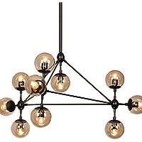 Jiaily Illuminazione Dimmerabile moderno modo lampadario 10 luci montato Semi-Flush verniciatura nera in vetro ambrato per Soggiorno Soppalco luce , 220-240V