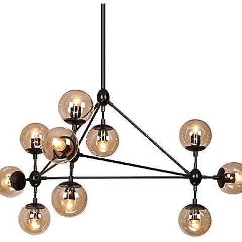 LYNDM-Mejor regalo de Navidad,moderna araña de luces regulable de modo 10 Montado Semi-Flush pintura negra para vidrio ámbar Living Light , 220-240 V