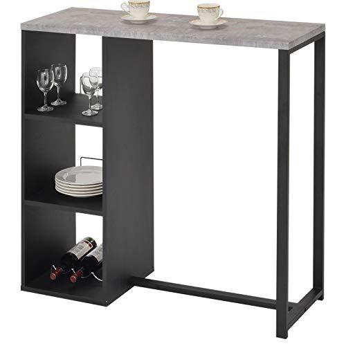 IDIMEX Bartisch PIAVA, Stehtisch Küchentheke Bartresen Küchenbar Tresentisch, mit Regal, modernes Design, Metallrohre schwarz lackiert, Tischplatte in Betonfarbe