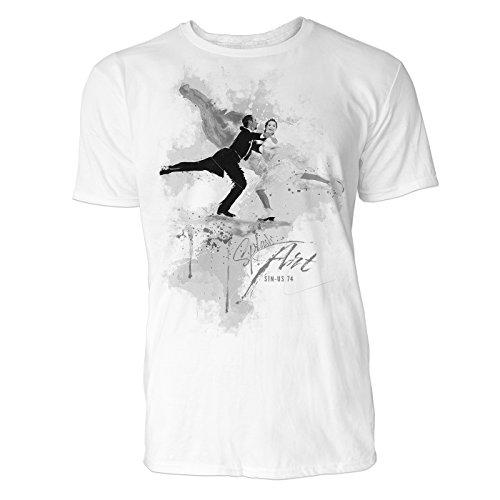Eiskunstlauf Paar Sinus Art ® Herren T Shirt ( Schwarz Weiss ) Sportshirt Baumwolle (Trophy Champagner)