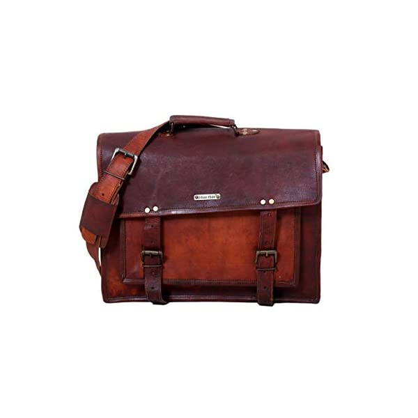 15″ Handmade Genuine Leather Messenger Laptop Bag Briefcase with Top Handle 41Lt8ey7pIL