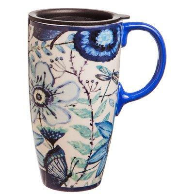 Shades of Indigo Flowers and Butterflies Ceramic Travel Coffee Mug 17oz by Gifted Living 17 Oz Mug