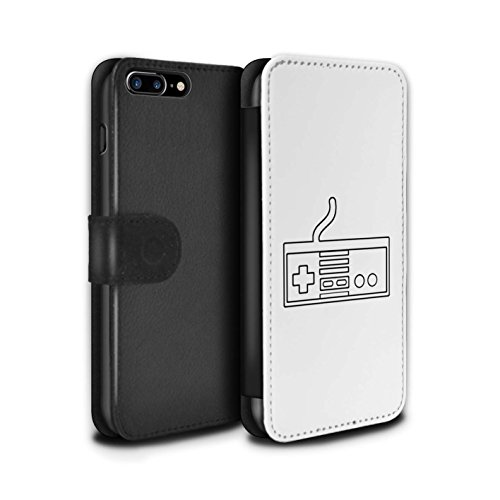 STUFF4 PU-Leder Hülle/Case/Tasche/Cover für Apple iPhone 8 Plus / Pack 20pcs Muster / Spielsteuerung Kollektion Weiß NES
